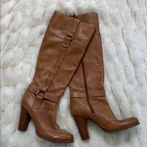 Nine West camel leather retro boots